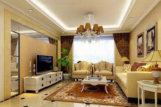三室二厅欧式客厅样板房装修效果图