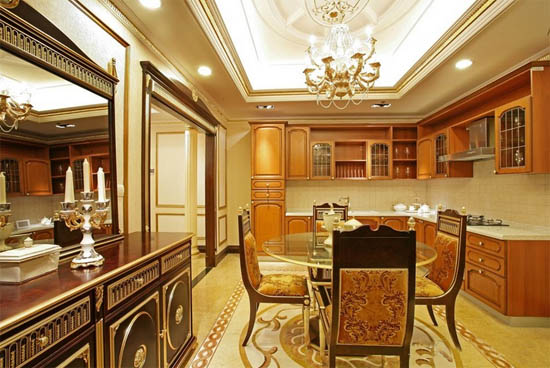 三室二厅欧式厨房样板房装修效果图