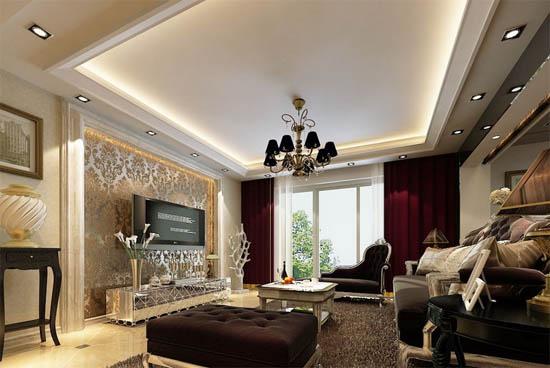 家庭欧式客厅吊顶装修效果图