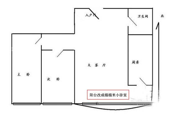 二居室改三居室平面布局图