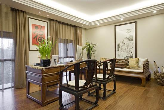 小户型新中式客厅样板房装修效果图