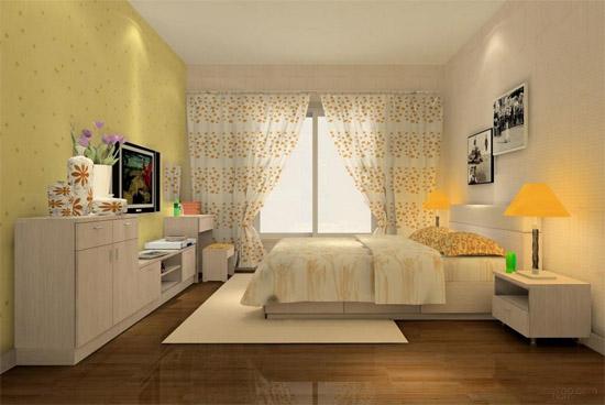简单装修样板房效果图卧室