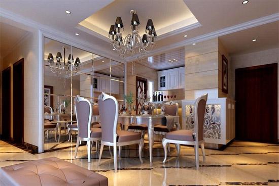 欧式餐厅镜面背景墙装修效果图