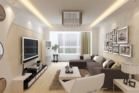 恒大名都现代简约客厅装修效果图