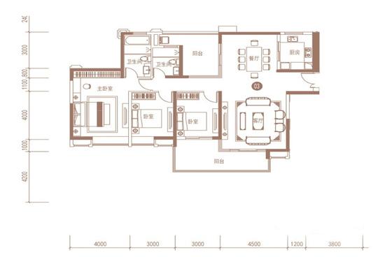 恒大名都120平米三居室空间布局图